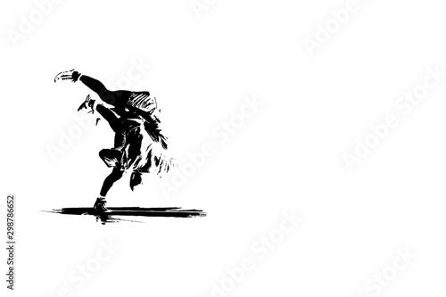 Fotografie, Obraz  Unrecognizable sambo wrestlers demonstrating hand throwing technique