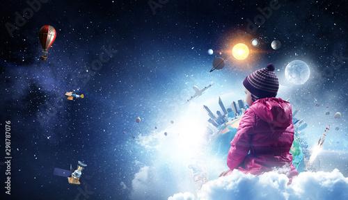 Child float on cloud . Mixed media Fototapeta