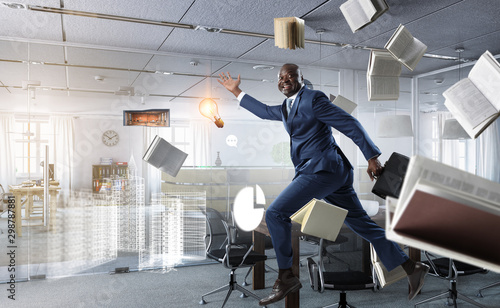 Fotomural  Cheerful businessman jumping high. Mixed media