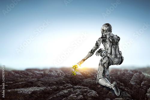 Fotografía  Cyborg woman as concept of creation. Mixed media