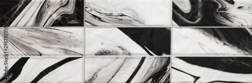 tile with liquid ink black and white abstract pattern - 298792050