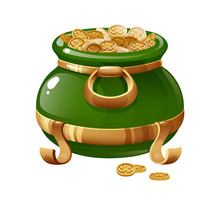 Traditional Symbolic Pot Filled With Gold Coins Depicting Four-leaf Clover.