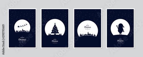 Fototapeta Merry Christmas card set santa sleight night tree greeting text lettering blue snowy night background vector. obraz