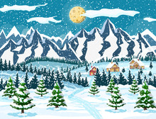 Winter Christmas Background. Pine Tree Wood And Snow. Winter Landscape With Fir Trees Forest, Mountain And Village. Happy New Year Celebration. New Year Xmas Holiday. Vector Illustration Flat Style