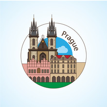 Prague Czech Republic Detailed Silhouette. Trendy Vector Illustration, Flat Style. Round Colorful Landmarks. The Concept For A Web Banner Or Travel Logo
