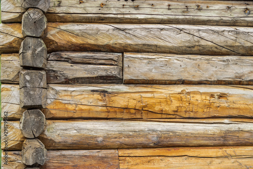 Wall of rural log house Tableau sur Toile