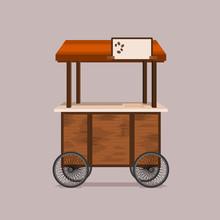 Editable Mobile Coffee Cart Vector Illustration