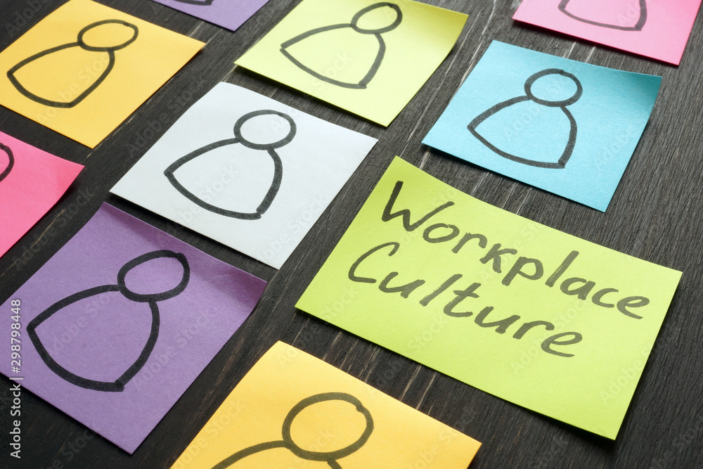 Fototapeta Workplace culture concept. Silhouettes drawn on sheets.