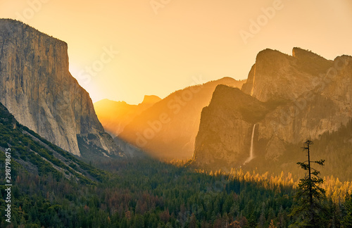 Yosemite National Park Valley at sunrise landscape from Tunnel View Wallpaper Mural