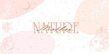 Mother Nature Poster With Leaf And Flower Elements, Girl Portrait And Silhouette Of A Pregnant Woman In One Line Style. Editable Vector Illustration