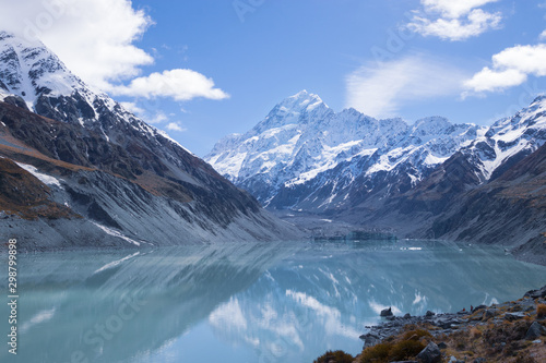 Photo Stands Nepal Mount Cook reflection in turquoise glacial lake, New Zealand