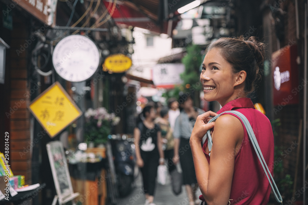 Fototapety, obrazy: China travel Asian tourist chinese woman walking in shopping market street food alley of Tianzifang, French concession, Shanghai, China Asia summer tourism vacation.