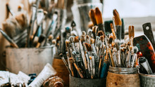 Table With Brushes And Tools I...