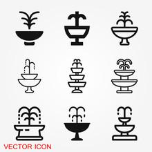 Fountain Icon, Vector Illustra...