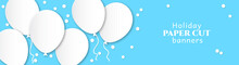 Horizontal Banner For Congratulations. White Flying Balls On A Blue Background. Design In The Style Of Paper Cut, Art For Birthday, Wedding.