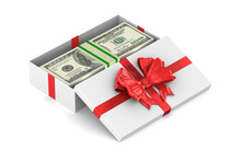 Open White Gift Box With Money...