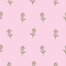 Simple Flowers On Pink Seamless Pattern Background.