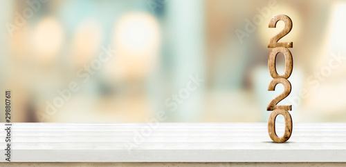 Fototapeta  New year 2020 (3d rendering) on white wooden table at blur abstract bokeh light