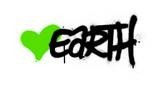 Fototapeta Młodzieżowe - graffiti earth word with green heart sprayed over white