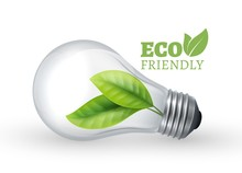Eco Light Bulb. Eco Friendly Glass Bulb With Green Leaf Inside. Vector Lamp Isolated On White Background. Illustration Eco Energy Green, Electricity Renewable