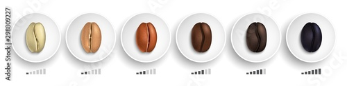 Fototapeta Coffee roasting guide. Realistic coffee beans in various roasting stages on white plates vector illustration. Caffeine drink roasted, coffee bean natural obraz