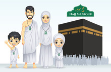 Hajj And Umrah Family Illustra...