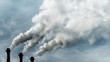 canvas print picture - Toxic emissions of toxic gases into the atmosphere, industrial air pollution. Dark chimneys blowing huge billows of smoke into the sky