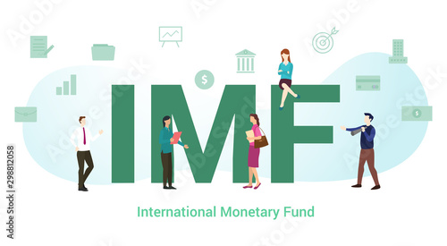 Fényképezés  imf international monetary fund concept with big word or text and team people wi