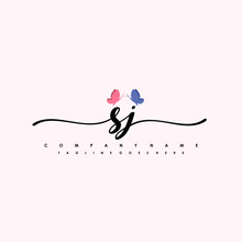 Initial SJ With A Butterfly On The Handwriting Logo Vector. Letter Logo Handwriting Template. Two Blue And Ping Butterflies