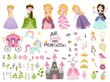 Big vector set of beautiful princesses, castle, carriage and accessories.