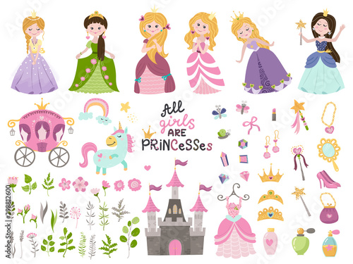 Obraz na plátně Big vector set of beautiful princesses, castle, carriage and accessories