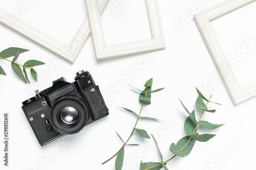 Fotomural  White photo frame, old retro photo camera and green eucalyptus leaves on white background