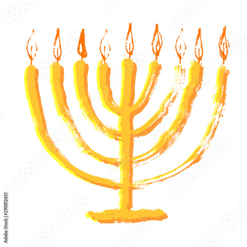 Beautiful menorah candlestick with candle and flame Canvas Print