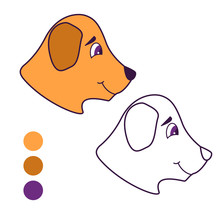 Coloring Book For Children. Outlined Doodle Dog.Cute Cartoon Character Puppy.Flat Vector.