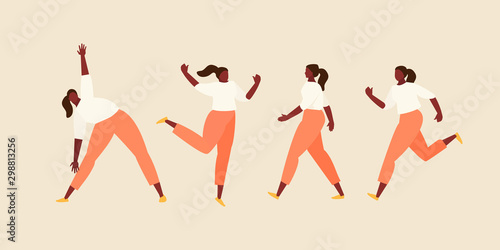 Photo Girl in different movements vector set