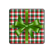 Christmas Gift In Tartan Wrapping With Green Bow