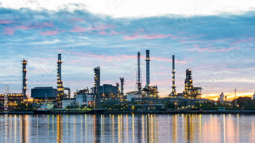 Fototapeta Oil and gas refinery plant area at sunrise obraz