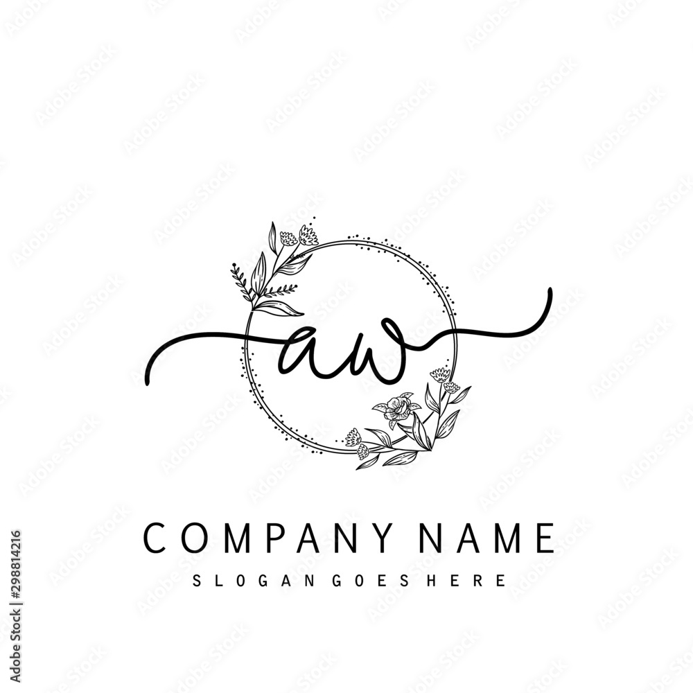 Fototapety, obrazy: Initial AW beauty monogram and elegant logo design, handwriting logo of initial signature, wedding, fashion, floral and botanical with creative template