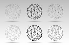 Set Of Vector Globes. Wire Eff...