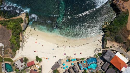 Foto auf Gartenposter Cappuccino Aerial view of Dream Beach, Lembongan Island, Bali.