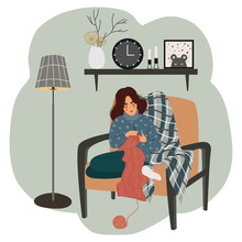 The Girl Sits In A Chair By The Floor Lamp And Knits Against The Background Of The Interior Shelf With A Clock, A Vase, A Picture And Candles. Scandinavian Style. Vector Flat Illustration