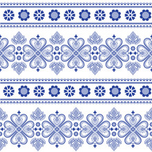 Folklore Floral Nordic Scandinavian Pattern Vector Seamless. Ethnic Blue And White Ornament Background With Flowers And Hearts. Swedish, Finnish And Norwegian Sweater Style Holiday Decoration Design.