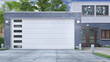 canvas print picture - Garage entrance with sectional doors. 3d illustration