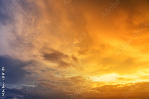 Poster Orange Beautiful sky with cloud sunset
