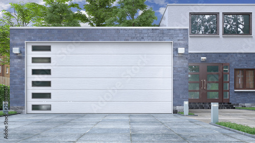 Garage entrance with sectional doors. 3d illustration - 298818848