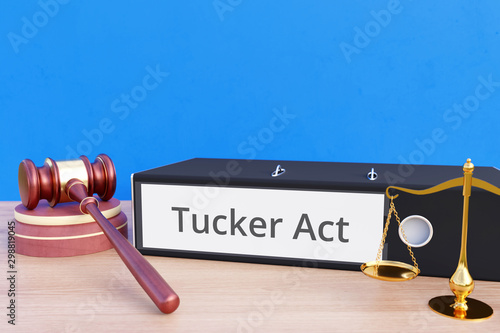 Vászonkép Tucker Act – Folder with labeling, gavel and libra – law, judgement, lawyer