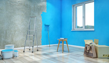 Half-painted In Blue Color Dirty Concrete Wall, 3d Illustration