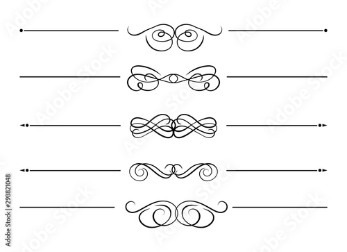 Pinturas sobre lienzo  Vector Collection of Swirl Filigree Divider Lines, Design Elements Isolated on White Background, Black Lines