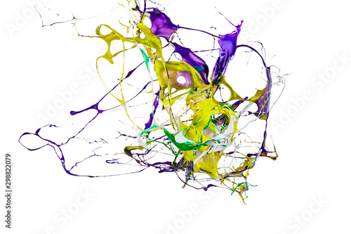 Stampa su Tela  abstract color splash or explosion of colored paints isolated on white backgroun