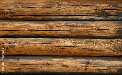Background texture of vintage wooden logs wall - 298823011